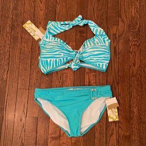 NWT Tiffany Blue Zebra Print Halter Bikini Sz M